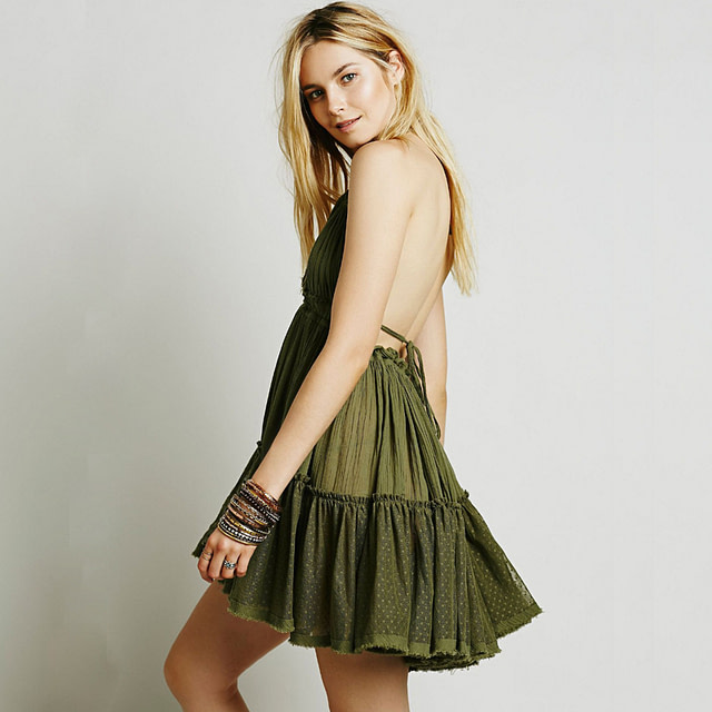 Women's Backless Draped Mini Dress
