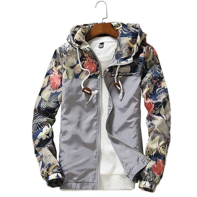Floral Hooded Long Sleeve Windbreaker for Men